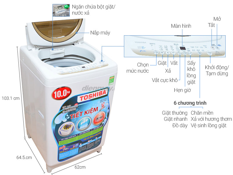 Ưu điểm vượt trội của máy giặt Toshiba 9kg